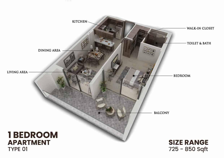 One Bedroom Apartment - Type 01